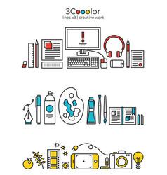 Stylized creative designer tools icon set vector