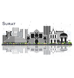 Surat india city skyline with color buildings and vector