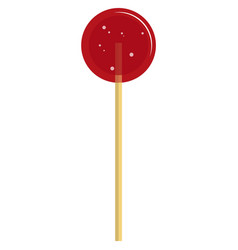 Sweet red round lollipop candy on white vector
