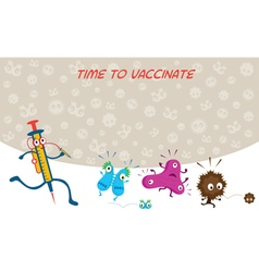 Syringe run to vaccinate germ characters vector