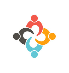 teamwork connection four people logo vector image