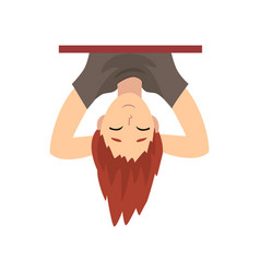 Teen boy hanging upside down behind wall cartoon vector