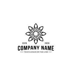 Vintage ornament leaf logo design vector