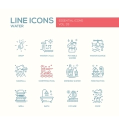Water - line design icons set vector
