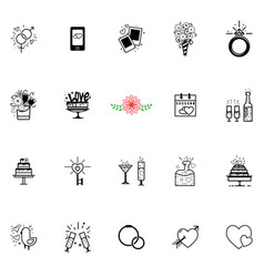 wedding icons and conducting wedding events vector image