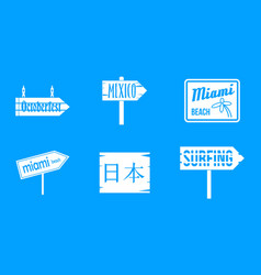 Welcome board icon blue set vector