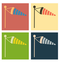 Wind speed flag line icon on color background in vector