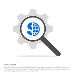 World currency icon search glass with gear symbol vector
