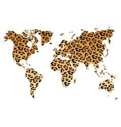 World map in animal print design leopard pattern vector image