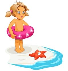 Baby girl and starfish on beach vector image vector image