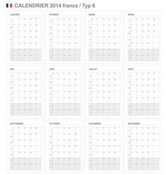 Calendar 2014 France Type 6 vector image vector image