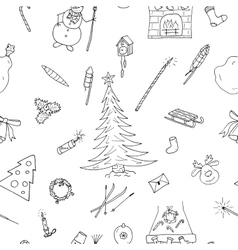 Christmas seamless pattern in doodle styleHand vector image vector image