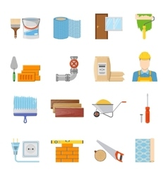 Construction Materials Icons Set vector image