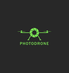 drone logo flat style green flying copter with vector image