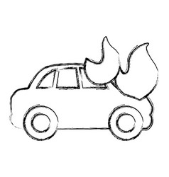 figure car burning and danger emergency accident vector image