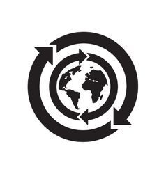 Flat icon in black and white earth arrow vector