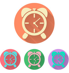 set the alarm clock icon with shadow vector image