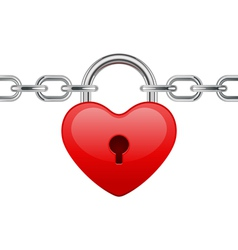 shiny heart lock on chain vector image