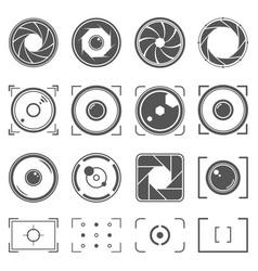 camera shutter lenses and photo camera elements vector image