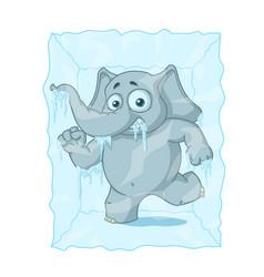 character elephant frozen in ice cartoon vector image vector image
