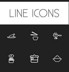 set of 6 editable cook icons includes symbols vector image vector image