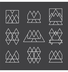 Set of 9 geometric shapes triangles squares and vector image vector image