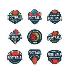set of american football logos sport emblems vector image vector image