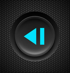 black button with blue sign of fast backward on vector image vector image