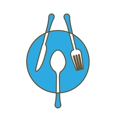 Blue plate with cutlery icon image vector