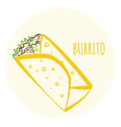 colorful outline burrito symbol vector image vector image