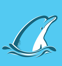 dolphin in blue sea vector image vector image
