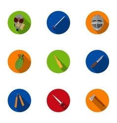 Weapon set icons in flat style Big collection of vector image vector image