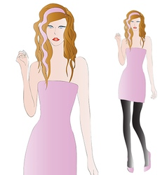 Beautiful long-legg blonde hair girl in pink dress vector image