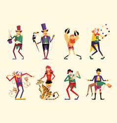 cartoon circus characters circus performers set vector image