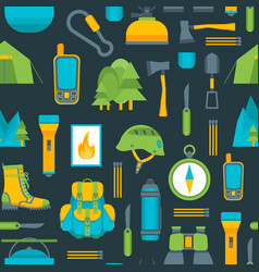 cartoon traveling camping and hiking background vector image
