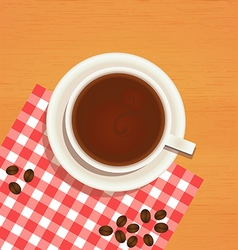Coffee cup top view on wooden table background vector image