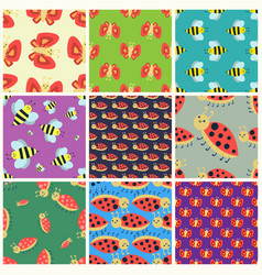 colorful insects seamless pattern wildlife wing vector image vector image
