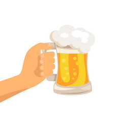 hand with traditional glass of beer with foam vector image