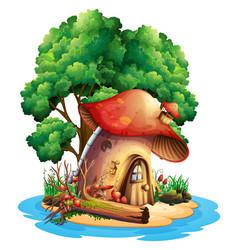 mushroom house on island vector image vector image