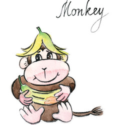 watercolor funny monkey vector image