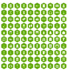 100 housework icons hexagon green vector