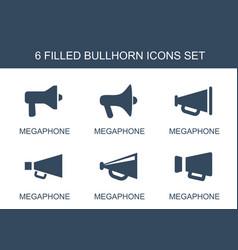 6 bullhorn icons vector image