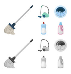 A mop with a handle for washing floors a green vector
