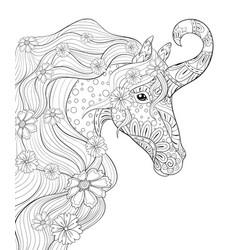 adult coloring bookpage a cute unicorn image vector image