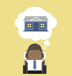 african businessman is thinking about house vector image