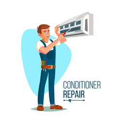 Air conditioner repair worker young happy vector