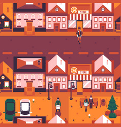 autumn city landscape people walk street vector image