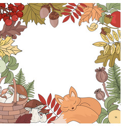 autumn fox forest animal season nature illu vector image