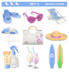Beach Icons Set 1 vector image