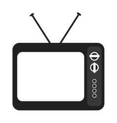 black and white old tv device graphic vector image